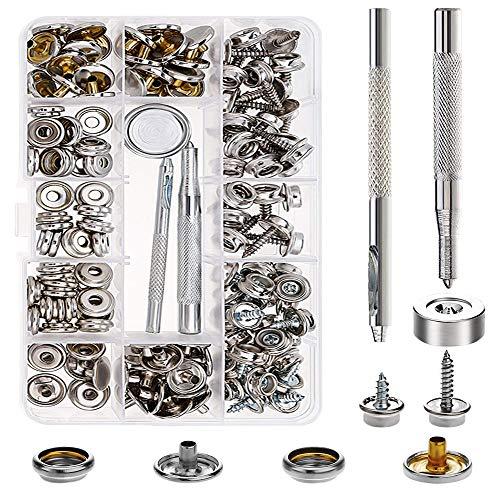 KINDPMA Botones de Presion de Metal Remaches de Cuero Corchete de Presión Metalicos Corchetes Metal Artesanía Herramineta de Fijación Snaps Botones Presión para Vaquero Cinturón