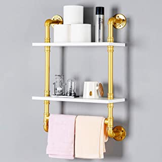 Industrial Pipe Shelf,Rustic Wall Shelf with Towel Bar,20 Towel Racks for Bathroom,2 Tiered Pipe Shelves Wood Shelf Shelving(Gold)
