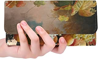 Unique Custom Abundance Of Fruit Severin Roesen Oil Canvas Women Trifold Wallet Long Purse Credit Card Holder Case Handbag