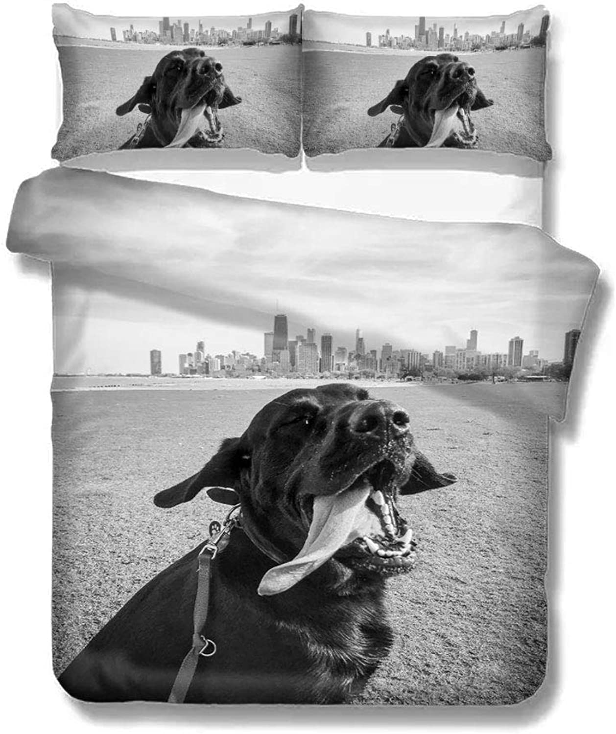 Duvet Cover Black Dog Sticking Tongue Out Home Bedding Duvet Cover Set Soft Comfortable Breathable Twin Size