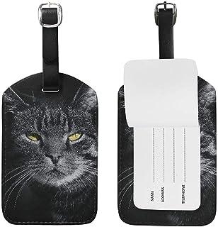 Angry Black Cat Kitty Equipaje de Cuero Equipaje Maleta Etiqueta de identificación Etiqueta para Viajes (2 Piezas)