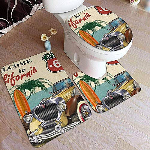 Liz Carter Bad Teppich Matten Set 3 Stück Dusche Bad Teppiche Contour Mat Deckel Toilettendeckel Teppiche American Vintage Car Route 66