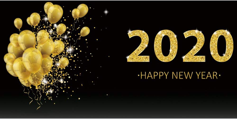 Leowefowa 12x8ft Happy New Year 2020 Backdrop for Photography Vinyl Golden Glittering 2020 Numbers Balloon Bunch Black Background New Year Party Decoration Banner Child Adult Shoot