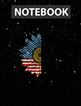 4th Of July Sunflower Home Of The Free Because Of The Brave Notebook Jounal Lined / 130 Pages / Large 8.5''x11''