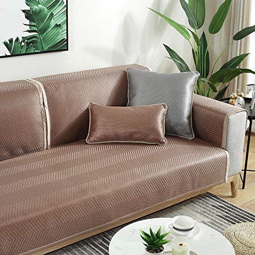 YUTJK Cubierta de sofá de Verano Fresco Monocromo,Cotton Printed Corner Sofa Slipcover,Living Room Fabric Sofa Seat Covers,Furniture Protector Cover,Brown 2_70×180cm