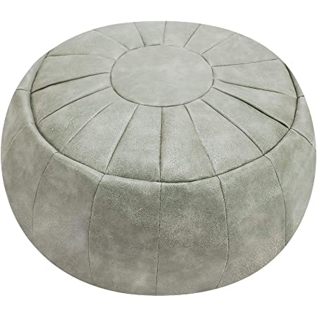ROTOT Decorative Pouf Cover, Ottoman, Bean Bag Chair, Footstool, Foot Rest, Storage Solution or Wedding Gifts (Unstuffed) (Smoke Gray)