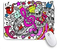 ECOMAOMI 可愛いマウスパッド 楽器の背景と抽象的な音楽の背景コラージュ 滑り止めゴムバッキングマウスパッドノートブックコンピュータマウスマット