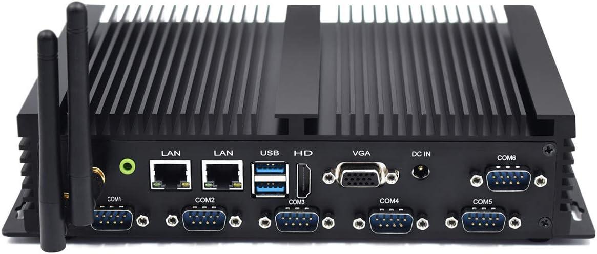 Mini PC con Dual Core NUC i5 4200U con computadora de Escritorio con Windows 10, 16 GB de RAM, 512 GB SSD, 6 RS232 COM, 2 LAN, HDMI, VGA, WiFi, Bluetooth PC sin Ventilador PC Industrial