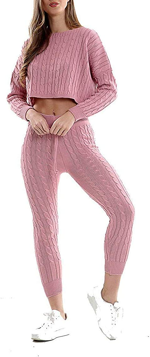 Ladies Chunky Cable Knitted Loungewear Womens Baggy Two Piece Top Skirt Suit Set