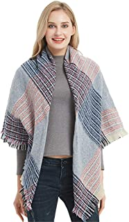 Women's Fall Winter Scarf Square Scarf Plaid Wrap Shawl Scarves Classic Warm Soft Scarves Oversized Shawl Cape