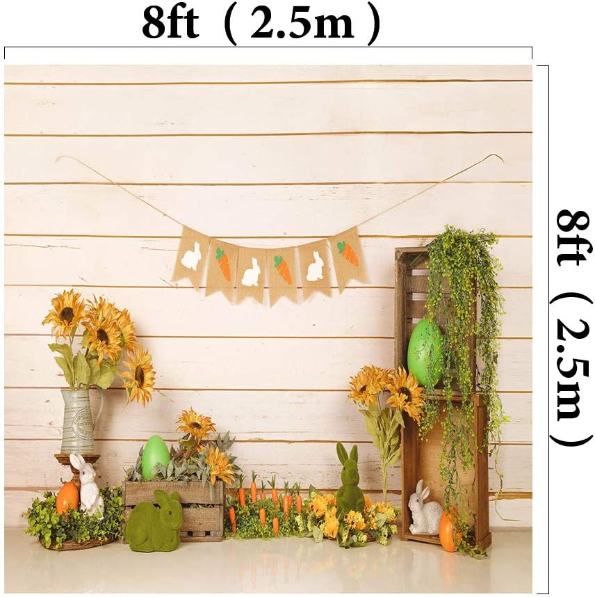 Kate 10x6.5ft Microfiber Easter Eggs Backdrops for Photoshoot Cute Rabbit Background Vintage Wood Wall Backgrounds Spring Flowers Backdrop Props