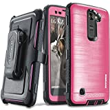 COVRWARE LG K7 / Tribute 5 / Escape 3 / Treasure [Iron Tank Series] Built-in [Screen Protector] Heavy Duty Full-Body Rugged Holster Armor [Brushed Metal Texture] Case [Belt Clip][Kickstand], Pink