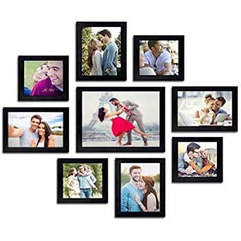"AG Crafts™ Wall Wood Photo Frames (Black, 9 Photos) 1/2"" (Black)"
