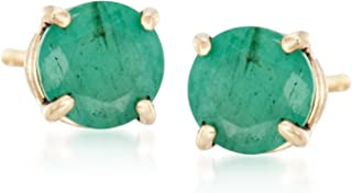 Ross-Simons 0.50 ct. t.w. Round Emerald Stud Earrings in 14kt Yellow Gold