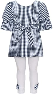 902796547cd Bonnie Jean Little Girls Navy Checkered Tie Accent 2 Pc Legging Outfit 2T-6X