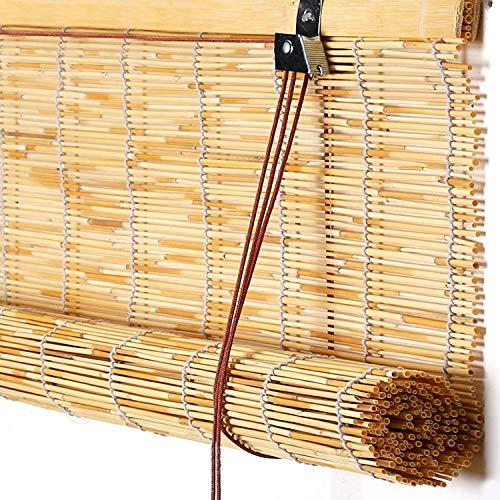 GeYao Bambus-Rollo, blickdicht, natürlich, handgewebt, Schilfrohrvorhänge, für Innen- und Außenbereich, Terrasse, Wanddekoration, Raumteiler, Schilfrohrvorhang mit Heber (Größe: 140 x 200 cm)