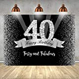 7x5ft Black and Sliver Happy Birthday Backdrop Shining Glitter Diamond Number 40th Photo Background Birthday Event Supplies Decorations Fabulous Birthday Celebration Backdrop Cake Table Decorations