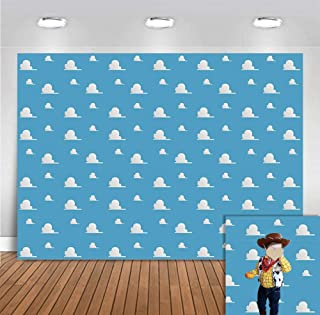 White Clouds Concise Theme Photo Backgrounds Vinyl for Children Birthday Supplies Blue Photography Backdrops for Newborn Baby Shower Party Banner Event Decoration Photobooth Props Cake Table 5x3ft
