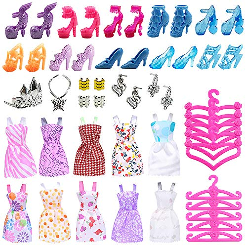 Watenkliy 50 pcs Barbie Puppen Zubehör, Schuhe Röcke Schmuckstücke Trockengestelle für die 11-Zoll-Barbie-Puppe