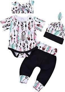 Baby Boy Girls 4pcs Outfits Short Sleeve Feather Bodysuit+Pant Sets+Hat+Handband