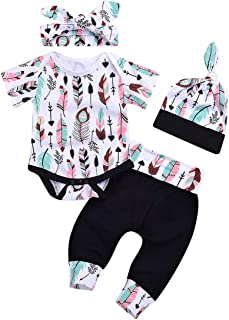 Unistylo Baby Boy Girls 4pcs Outfits Short Sleeve Feather Bodysuit+Pant Sets+Hat+Handband