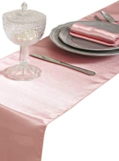 mds Pack of 10 Wedding 12 x 108 inch Satin Table Runner for Wedding Banquet Decoration- Blush Pink