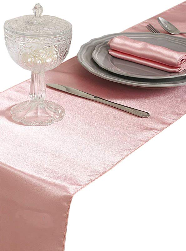 Mds Pack Of 10 Wedding 12 X 108 Inch Satin Table Runner For Wedding Banquet Decoration Blush Pink