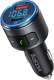 VicTsing (Upgraded Version) V5.0 Bluetooth FM Transmitter for Car, QC3.0 & LED..