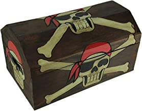 Private Label Wood Childrens Chests Wooden Pirate Skull Treasure Chest Storage Box 19 X 9.5 X 10.5 Inches Brown