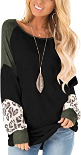 PRETTODAY Women's Crew Neck Pullovers Color Block Oversized Lightweight Sweaters Long Sleeve Tops