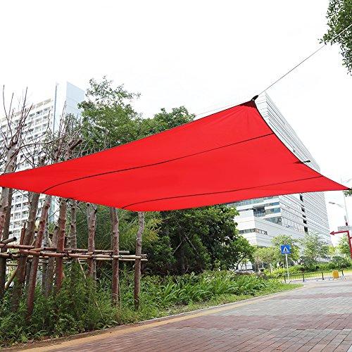 4,5 x 5 m voile d'ombrage protection solaire rectangulaire à l'air libre pavillon résistant à l'eau pour jardin, terrasse, rue, plage avec protection UV, sac de transport et jeu de cordes tendeurs (rouge)