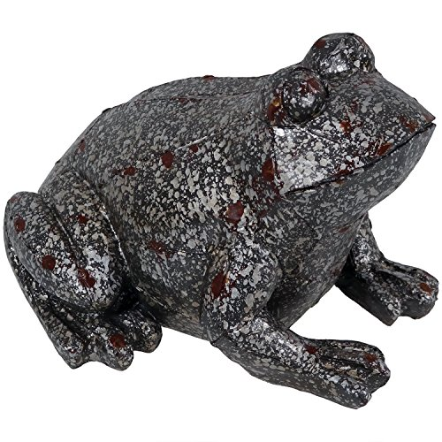Sunnydaze Weathered Garden Frog Statue, Outdoor Decorative Lawn Ornament and Yard Sculpture, 8 Inch