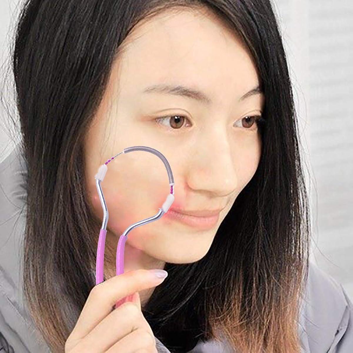 克服する指導する作曲家春の顔の毛の除去剤、滑らかな仕上げの顔の毛の除去剤、男性と女性のためのポータブル&効果的な手動脱毛器スティック。