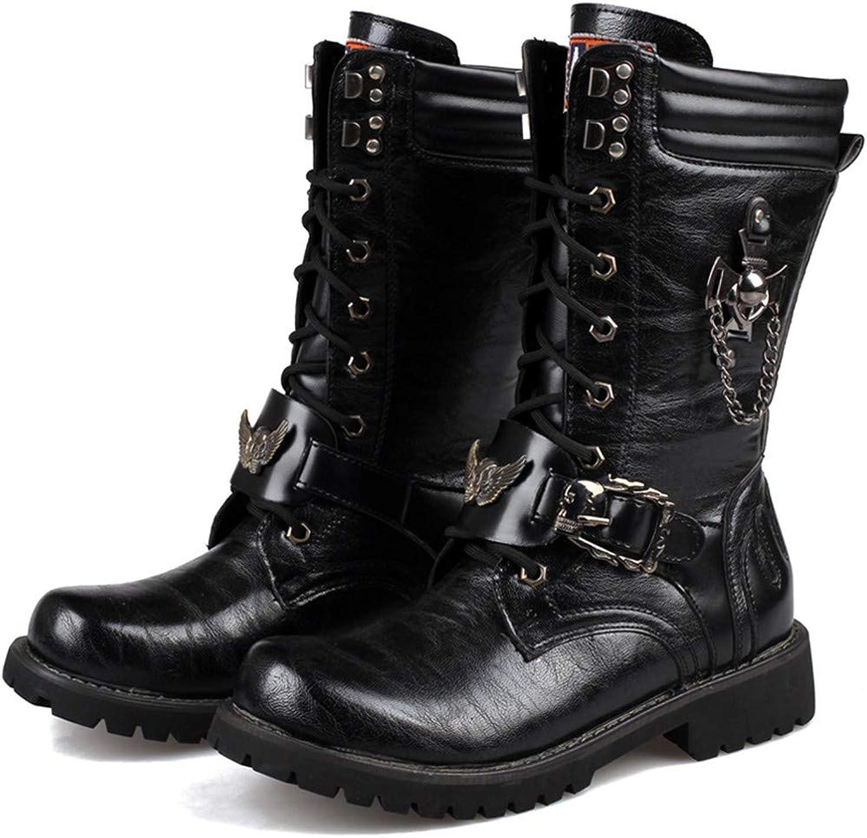 Men's Martin Boots Trend High Men's Boots Combat Boots Military Boots Lace Tie Chain Decorative Leather Upper Men's shoes,39