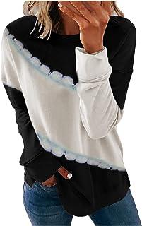 Sonnena Suéteres para Mujer Casual Cuello Redondo Cárdigans Tie-Dye Suéter Suelto Suave de Manga Larga Tops de Otoño