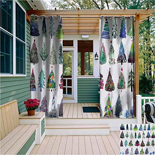 Christmas Room Darkened Heat Insulation Outdoor Curtain Big Collection of Watercolor Christmas Fir Trees Artistic Abstract Silhouettes Energy Saving W108 x L96 Inch Multicolor