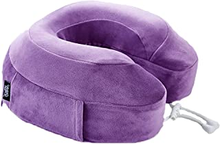 U-shaped Memory Foam Lightweight Neck Pillow Soft Pillow Support Cushion Office Nap Portable Travel Neck Head Pillow 2 Colors (Color : PURPLE)