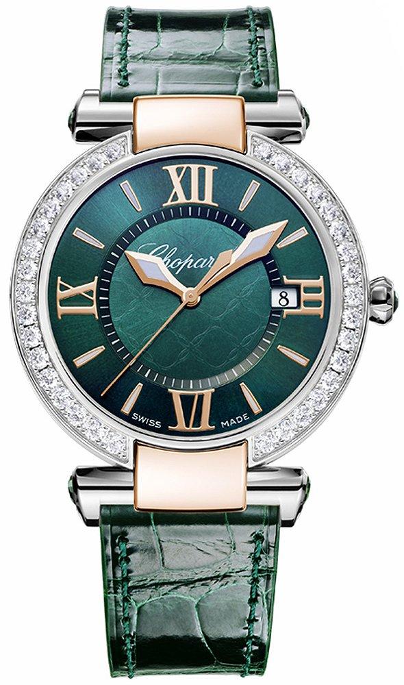 Womens Chopard Rose & Steel Diamonds, Green Dial Imperiale Quartz 36mm 388532-6008