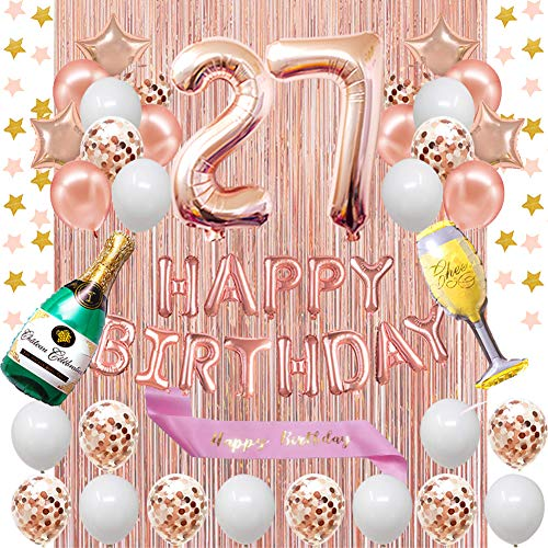 Fancypartyshop 27th Birthday Decorations - Rose Gold Happy Birthday Banner and Sash with Number 27 Balloons Latex Confetti Balloons Ideal for Girl and Women 27 Years Old Birthday Rose Gold