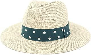 Hats and Caps Summer Mesh Straw Women Men Travel Beach Sun Hat Graceful Lady Fedora Spacious Brim Panama Sunbonnet Sunhat Size 56-58CM (Color : Beige, Size : 56-58CM)