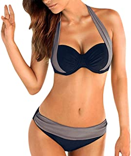 e13c2e3b16 St.Dona Womens Sexy Padded Bikini with Underwire Push up Triangle Top  Splicing Color Bottom