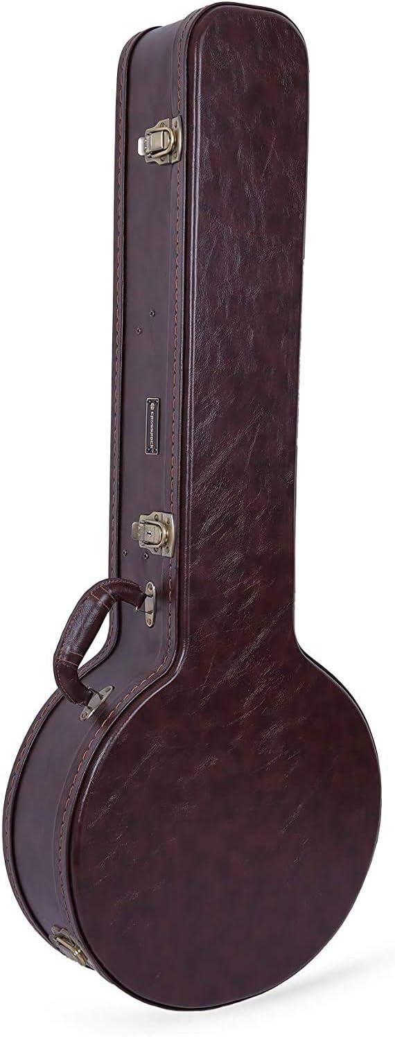 Crossrock 着後レビューで 送料無料 CRW600BJBR Wooden case 休み for V Resonator 5 String Banjo
