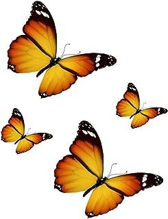 Akacha - Set di 4 Adesivi per Auto, Moto, Laptop, Frigorifero, Motivo: Farfalla, Colore: Arancione/Giallo