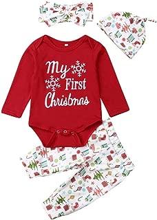 Niña Conjunto Baby Girl Christmas Clothing Pijamas Combinados De Invierno Moda Tops Manga Larga Romper Monos + Pantalones + Sombrero + Diadema Letras Impresas Mi Primera Navidad 0-24 Meses