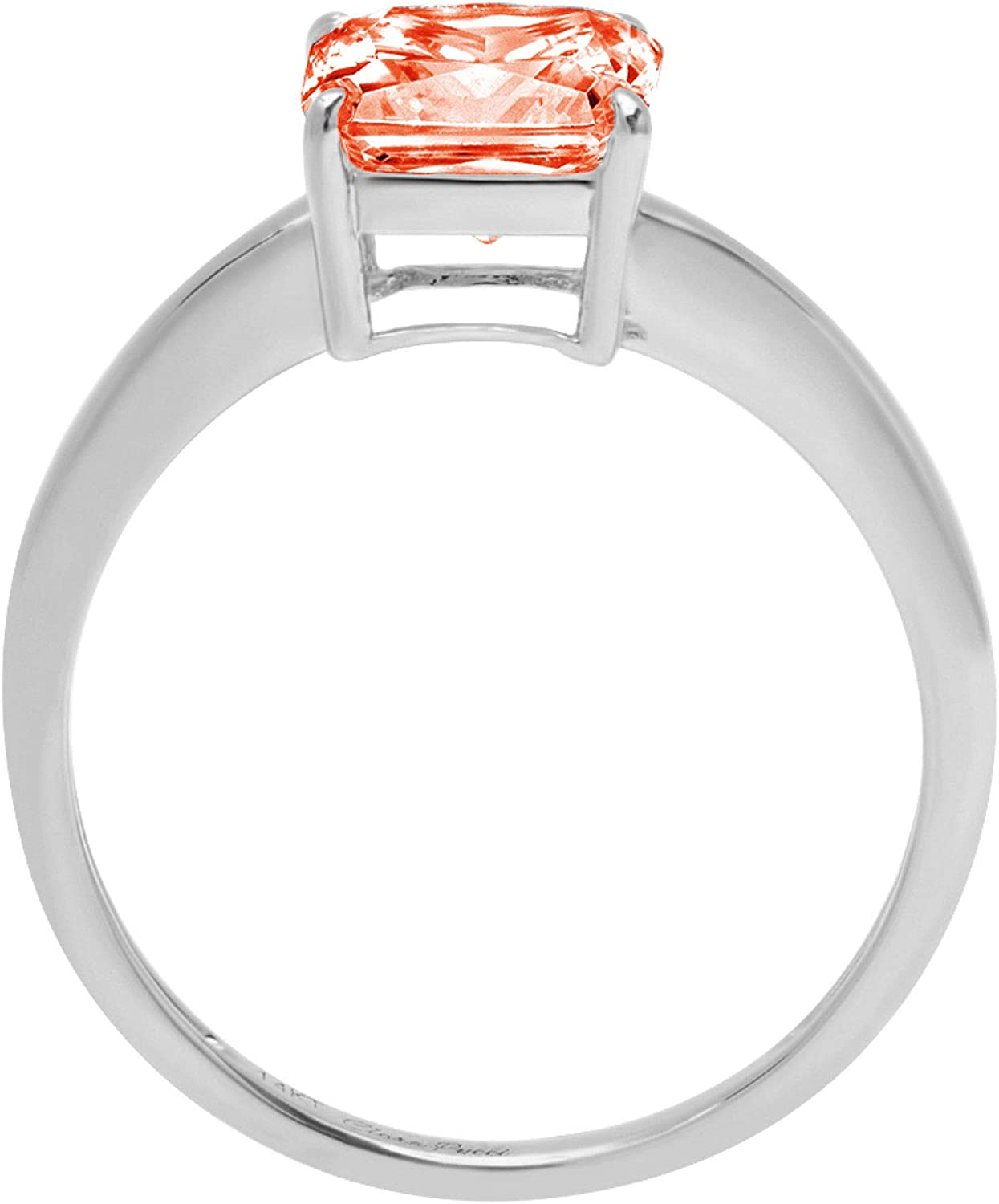 2.4ct Brilliant Asscher Cut Solitaire Stunning Genuine Red Simulated Diamond Cubic Zirconia Ideal VVS1 D 4-Prong Engagement Wedding Bridal Promise Anniversary Ring Solid 14k White Gold for Women