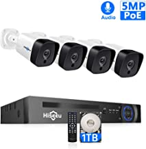 Hiseeu【5MP 8CH】PoE Security Camera System,4Pcs FHD Cameras+8Channel 4MP/5MP NVR,2592 by 1944 Pixels,Phone&PC Remote,Microphone,Night Vision,Waterproof,Onvif,Motion Alert,24/7 Recording,H.265+,1TB HDD