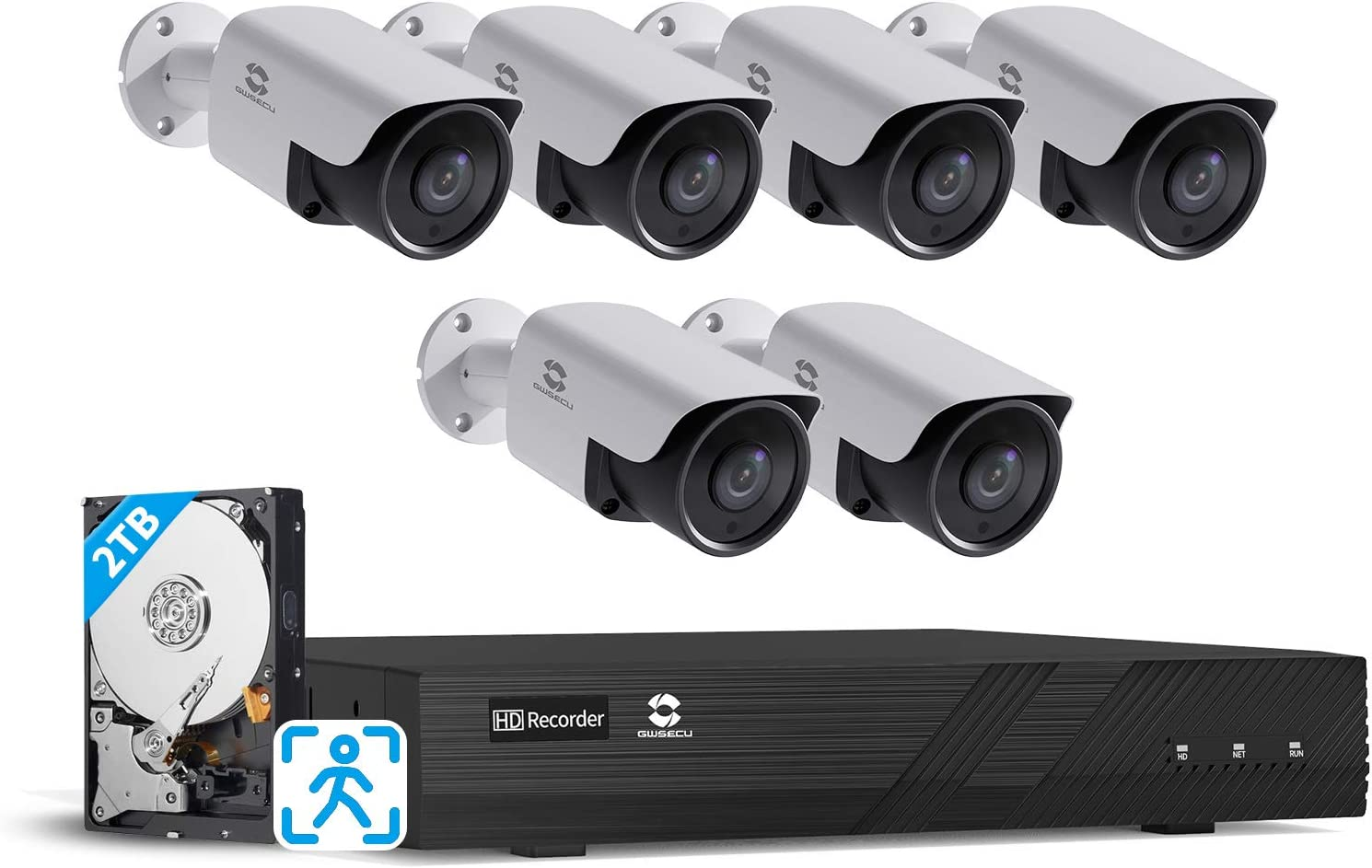GWSECU 4K 8CH PoE Security Camera System, 4K/8MP Video Surveillance NVR Kits with 2TB HDD, 6X 5MP 2.8mm Smart Human Detection Network IP Bullet Cameras for Home Business Audio 24/7 Recording