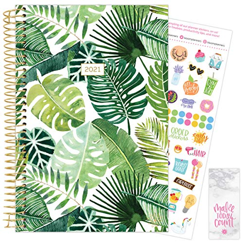 """bloom daily planners 2021 Calendar Year Day Planner January 2021 - December 2021 - 6"""" x 825"""" - WeeklyMonthly Agenda Organizer Book with Stickers Bookmark - Tropical Palm Leaves"""