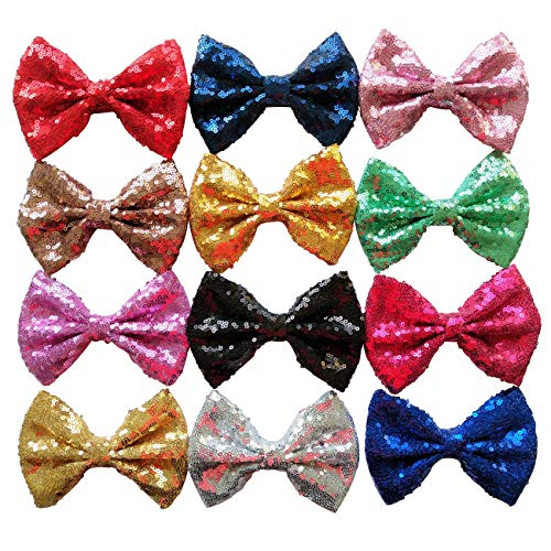 Product Image of the Yazon 5inch Sequin Fabric Bows Hair Clips Baby Sequin Hair Bows Girl's Hair...