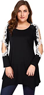 Womens Shirts Casual Tunic Tops Lace Blouse Short Sleeve Plus Size Asymmetrical Tops